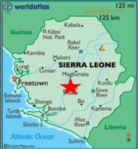 (Sierra Leone is the size of South Carolina. Liberia is located to the southeast. Madina Village is 140 miles southeast of Freetown.)