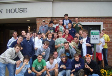 Ben Clark and the members of Bowman House during his sophomore year